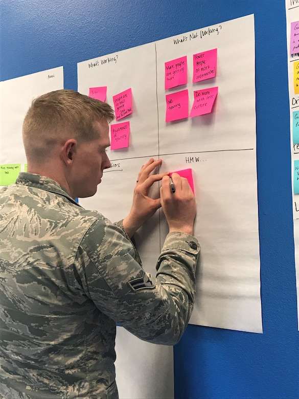 Airman First Class Aaron Brunson, member of the 366th Fighter Wing Aerospace Medicine Squadron, writes down his perspective of his problem on sticky notes. Sticky notes help explore complex concepts quickly and in a visual manner.