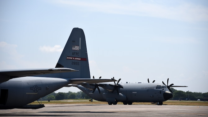 "A C-130J Super Hercules from the 815th Airlift Squadron,  taxis toward its parking spot June 4, 2019 at Keesler Air Force Base, Miss. Lt. Col. Keith Gibson, 403rd Operations Group deputy commander, flew the lead aircraft of a two ship flight during his final flight with the ""Flying Jennies."" (U.S. Air Force photo by Tech. Sgt. Christopher Carranza)"