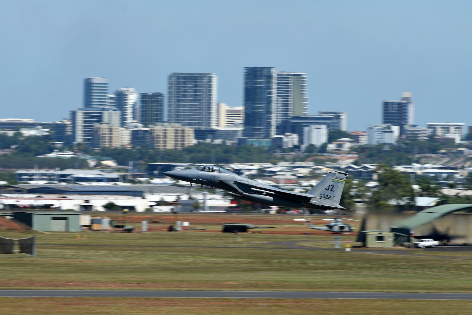 A U.S. Air Force F-15C Eagle with the 194th Expeditionary Fighter Squadron takes off during Exercise Diamond Storm at Royal Australian Air Force Base (RAAF) Darwin, Australia, May 15, 2019. The 194th EFS used F-15Cs to aid RAAF pilots in offensive counter air training scenarios in support of Australia's Air Warfare Instructor Course. (U.S. Air Force photo by Staff Sgt. Joshua Edwards)
