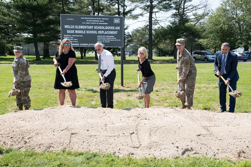 Pictured from the left, Lt. Col. Kristen Dahle, U.S. Army Corps of Engineers Philadelphia District commander; Jessica Marelli, Caesar Rodney School District Board of Education president, Camden, Del.; Sen. Tom Carper, D-Del.; Kate Rohrer, Kent and Sussex counties, Delaware director for Sen. Chris Coons, D-Del.; Col. Joel Safranek, 436th Airlift Wing commander; and Hossam Ibrahim, Dobco, Inc. vice president, break ground for the new Welch Elementary School/Dover Air Base Middle School June 3, 2019, in the family housing area at Dover Air Force Base, Del. The $48 million project, federally funded by the Department of Defense Education Activity, will be built on the football field across the street from the Youth Center and adjacent to the existing elementary and middle schools. Scheduled to open at the beginning of the 2021 school year, the new building will have over 105,000 square feet of learning space for approximately 490 students. (U.S. Air Force photo by Roland Balik)