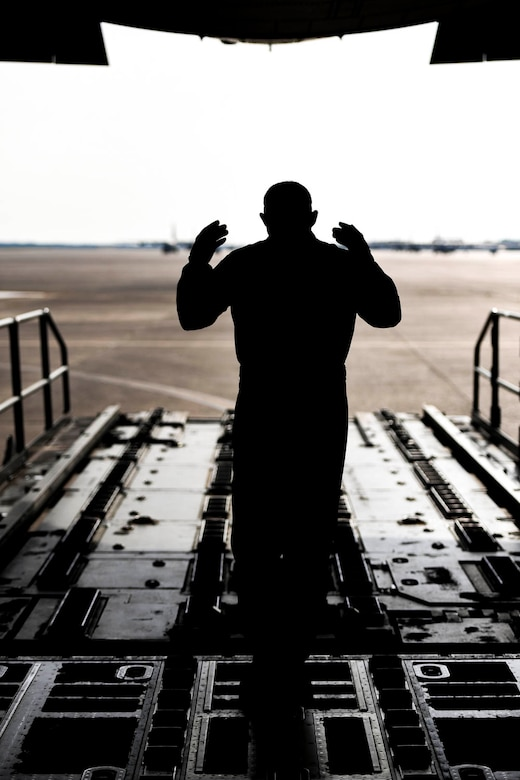 96th Aerial Port Squadron air transportation specialists practice static load training on a C-130J on June 2, 2019 at Little Rock Air Force Base, Ark.