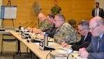 Army Brig. Gen. Mark Simerly, DLA Troop Support Commander, center, speaks to participants during an exercise at DLA Troop Support May 28, 2019 in Philadelphia. DLA Troop Support held a two-day tabletop exercise to prepare for the 2019 hurricane season.
