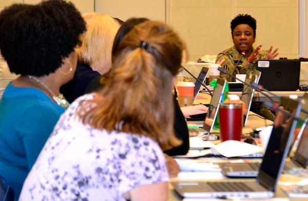 Army Lt. Col. Latrina Lee, DLA Troop Support J3/5 Current Operations chief, speaks with participants during a readiness exercise at DLA Troop Support May 28, 2019 in Philadelphia.