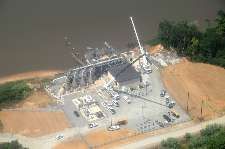 This image shows the completed Dissolved Oxygen Injection Plant on Hutchinson Island in Savannah Georgia, May 29, 2019. This is one of two plants that make up a single dissolved oxygen system designed and construction as an environmental mitigation feature of the Savannah Harbor Expansion Project, known as SHEP.