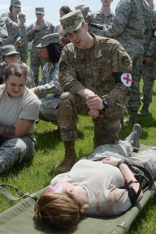 Airmen tested their knowledge and communication skills by triaging and transporting victims.