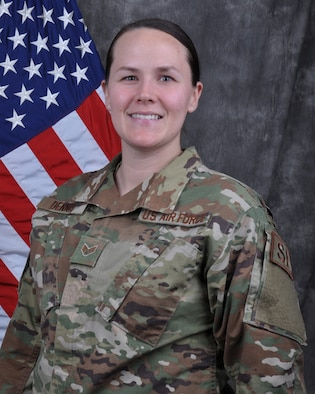 Senior Airman Paula Dennis, 445th Security Forces Squadron, fire team member, is the 445th Airlift Wing Airman of the quarter, first quarter CY 19.