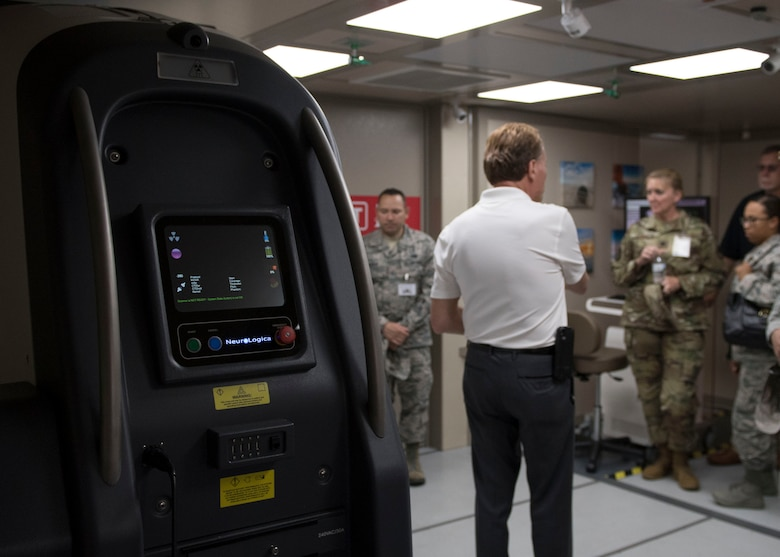 A medical equipment company representative explains the benefits of newly redesigned medical units during the Manpower and Equipment Force Packaging Summit at Joint Base Langley-Eustis, Virginia, June 4, 2019.
