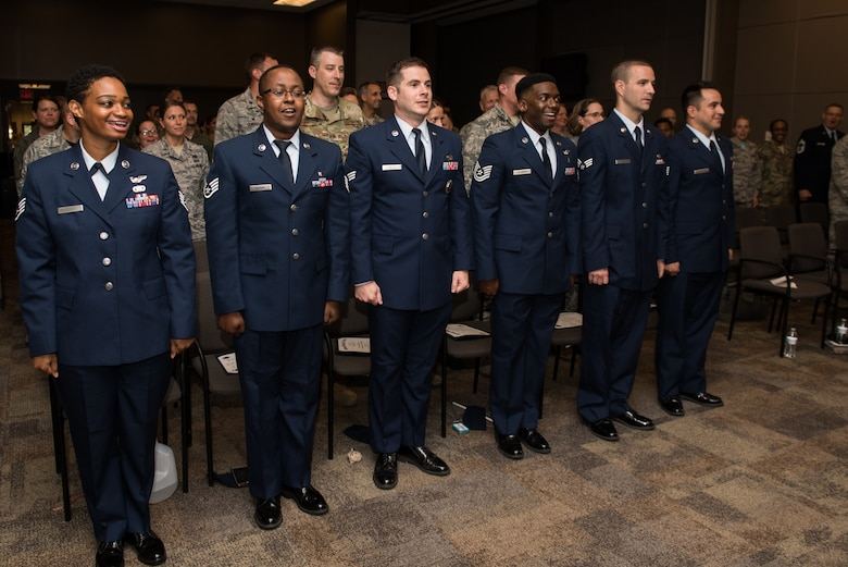 Airmen with the 932nd Airlift Wing graduate from the Community College of the Air Force,  June 2, 2019, Scott Air Force Base, Illinois. CCAF started in the early 1970s as a way to gain accreditation and recognition for training by the Air Force. (U.S. Air Force photo by Master Sgt. Christopher Parr)