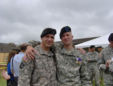 Then-Spc. Water with then-Staff Sgt. Porter when Waters received his Silver Star and Purple Heart.