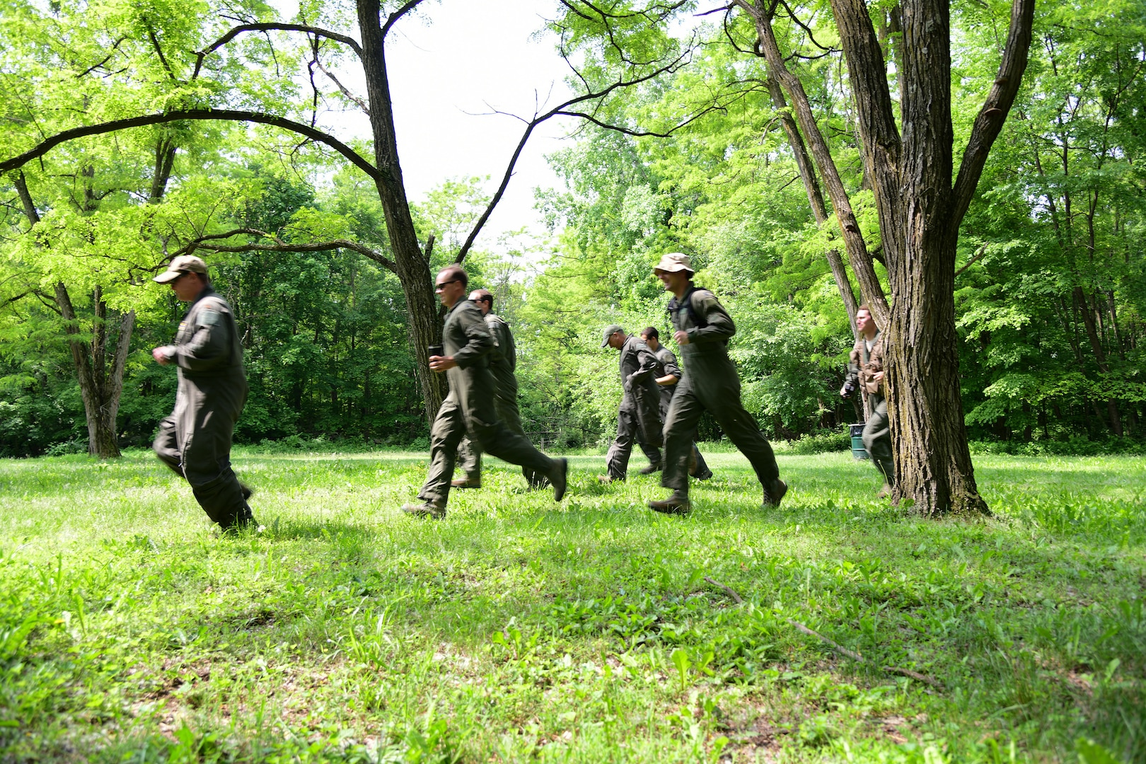 Airmen assigned to the 105th Airlift Wing participate in combat survival training at Plum Point County Park, New Windsor, New York, June 1, 2019. The training equips aircrews with the skill necessary to survive in hostile environments.