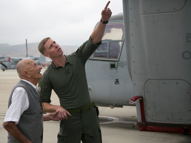 Retired U.S. Marine Corps Maj. Richard Cropley celebrates his 99th birthday with Marine Medium Tiltrotor Squadron 164, Marine Aircraft Group 39, 3rd Marine Aircraft Wing, at Marine Corps Air Station Camp Pendleton, Calif., May 31, 2019.  Cropley served his country for more than 20 years as a fighter/bomber pilot during World War II and flew multiple combat missions over the Pacific. Cropley's birthday wish was to spend time with his Marine Corps aviation family and to see an MV-22B Osprey up close.