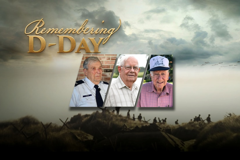 "A graphic shows a background of soldiers in a field with three older gentlemen in the foreground and the words ""Remembering D-Day."""
