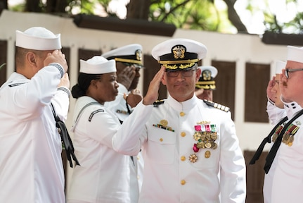 190604-N-KC128-0280 JOINT BASE PEARL HARBOR-HICKAM, Hawaii (June 4, 2019) Capt. Andrew Hertel, salutes after the change of command ceremony of Naval Submarine Training Center Pacific (NSTCP) at Parche Memorial on Joint Base Pearl Harbor-Hickam, Hawaii, June 4, 2019. Capt. Andrew Hertel, was relieved by Capt. Lance Thompson, after more than 30 months in command. (U.S. Navy Photo by Mass Communication Specialist 1st Class Daniel Hinton)