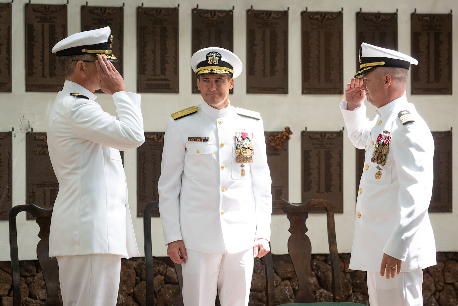 190604-N-KC128-0212 JOINT BASE PEARL HARBOR-HICKAM, Hawaii (June 4, 2019) Capt. Andrew Hertel, left, is relieved by Capt. Lance Thompson, right, during the change of command ceremony of Naval Submarine Training Center Pacific (NSTCP) at Parche Memorial on Joint Base Pearl Harbor-Hickam, Hawaii, June 4, 2019.(U.S. Navy Photo by Mass Communication Specialist 1st Class Daniel Hinton)