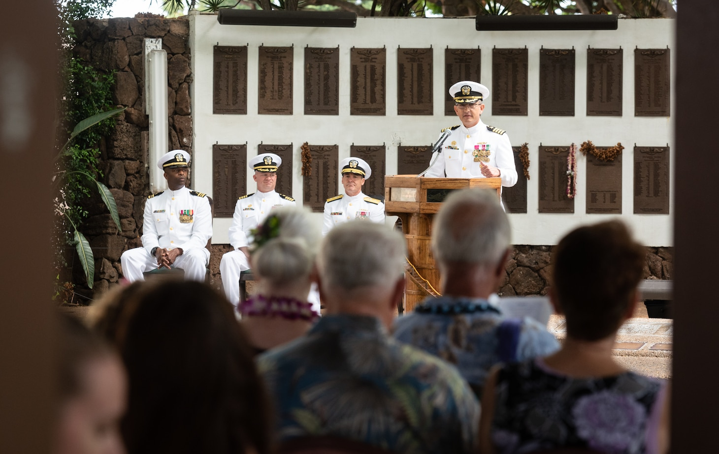 190604-N-KC128-0087 JOINT BASE PEARL HARBOR-HICKAM, Hawaii (June 4, 2019) Capt. Andrew Hertel, delivers remarks during the change of command ceremony of Naval Submarine Training Center Pacific (NSTCP) at Parche Memorial on Joint Base Pearl Harbor-Hickam, Hawaii, June 4, 2019. Capt. Andrew Hertel, was relieved by Capt. Lance Thompson, after more than 30 months in command. (U.S. Navy Photo by Mass Communication Specialist 1st Class Daniel Hinton)