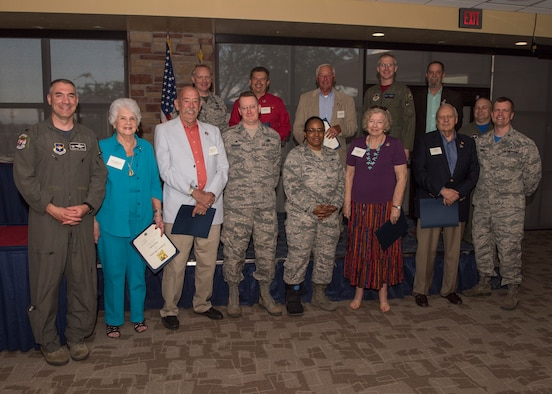 Col. Joseph Campo, 49th Wing commander (left) poses with all 49th Wing group commanders and 2019 commanders emeritus, May 31, 2019, on Holloman Air Force Base, N.M. The designation of commander emeritus is the highest honor the 49th Wing can present a civilian civic leader. (U.S. Air Force photo by Staff Sgt. BreeAnn Sachs)