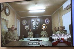 The 184th Sustainment Command's unit ministry team brings religious services to warfighters near and far using video teleconference technology during a service at Camp Arifjan, Kuwait, May 26, 2019.