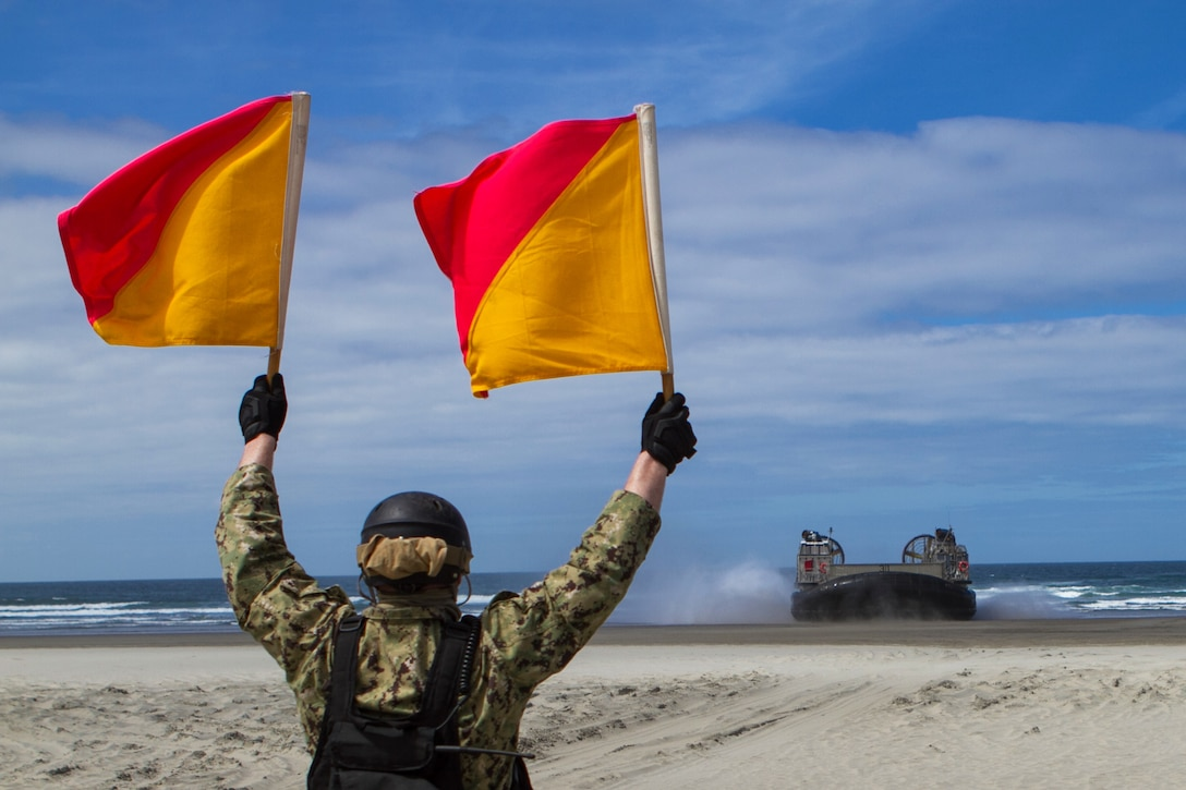A sailor holds two flags up to signal an aquatic vehicle on a beach.