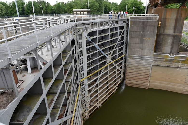 Maj. Gen. Mark Toy, U.S. Army Corps of Engineers Great Lakes and Ohio River Division commander, receives an update on a project to install an Asian Carp barrier on the downstream approach into Barkley Lock during a tour of the lock on the Cumberland River in Grand Rivers, Ky., June 4, 2019. (USACE photo by Lee Roberts)