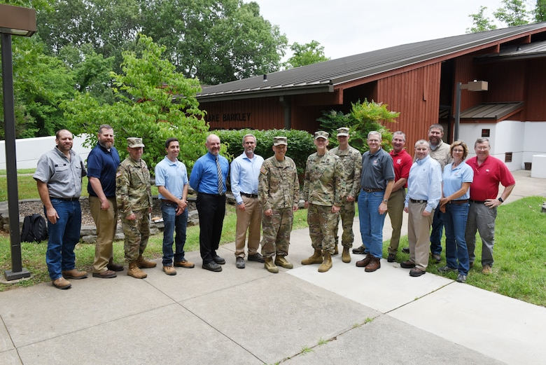 Maj. Gen. Mark Toy, U.S. Army Corps of Engineers Great Lakes and Ohio River Division commander, poses with Nashville District members during a visit to the Barkley Lake Resource Manager's Office in Grand Rivers, Ky., June 4, 2019. (USACE photo by Lee Roberts)