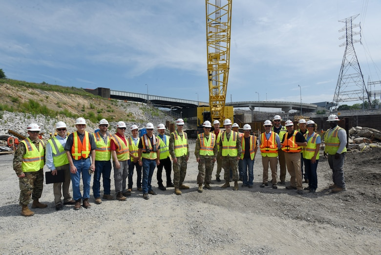 Maj. Gen. Mark Toy, U.S. Army Corps of Engineers Great Lakes and Ohio River Division commander, poses with Nashville District members during a visit to the Kentucky Lock Addition Project in Grand Rivers, Ky., June 4, 2019. (USACE photo by Lee Roberts)