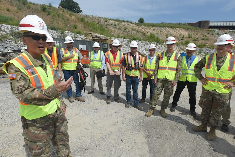 "Maj. Gen. Mark Toy, U.S. Army Corps of Engineers Great Lakes and Ohio River Division commander, thanks members of the Nashville District for their support and service during his tenure leading the division during his last visit to the district at the Kentucky Lock Addition Project in Grand Rivers, Ky., June 4, 2019. The general relinquishes command next month and then moves on to his next assignment as the commander of the Mississippi Valley Division. The general urged employees to continue to focus on ""Taking Care of People,"" a staple of mission accomplishment and the Workforce Readiness Program during his command. (USACE photo by Lee Roberts)"