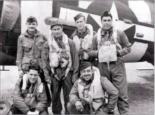 Retired Col. Vito Pedone, at the time Capt. Pedone (top right) stands with his C-47 Skytrain aircrew before their D-Day operation in 1944. (Curtesy photo)