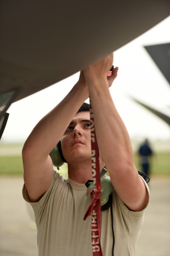 Senior Airman Chase Gilmour, 421st Aircraft Maintenance Unit crew chief, prepares an F-35A Lightning II fighter jet for refueling during Astral Knight 2019 on June 5, 2019, at Aviano Air Base, Italy. The F-35s are participating in Astral Knight 2019, a multinational exercise that enhances relationships with allies and improves overall coordination with partner militaries during times of crisis. (U.S. Air Force photo by Tech. Sgt. Jim Araos)