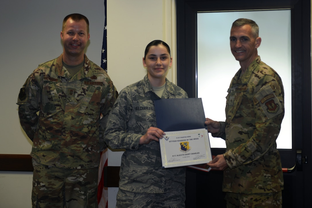 This week's Wyvern Warrior is A1C Alexys St. Charles, a 31st Medical Operations Squadron mental health technician at Aviano AB, Italy. Originally from Joshua Tree, California, St. Charles has been in the Air Force for 15 months. She has consistently gone above and beyond the call of duty as an Airman and a Wingman. In December, after receiving a message from a friend stating they wanted to harm themselves, she quickly sprang into action notifying the first sergeant, rushing to the member's house, and getting them the help they needed.