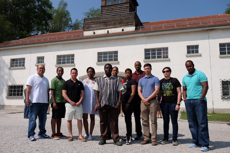 DACHAU, Germany—On the eve of the 75th anniversary of the World War II Allied D-Day invasion to end National Socialist Fascism in Europe, eight Reserve Soldiers from various units within the 7th Mission Support Command joined four active duty Soldiers from the senior leadership team of the 21st Theater Support Command´s Equal Opportunity Staff to visit the Dachau Concentration Camp Memorial on June 5, 2019.