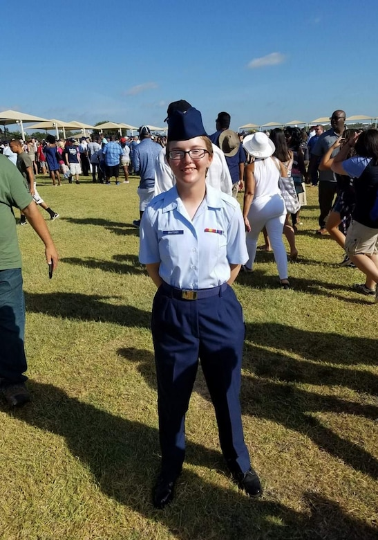 U.S. Air Force Airman Basic Constance Bratcher stands for a photo after graduating Basic Military Training at Joint Base San Antonio-Lackland, Texas, August 2017.