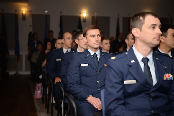 Graduate Medical Education program residents prepare to graduate inside the Don Wylie Auditorium at Keesler Air Force Base, Mississippi, May 23, 2019.