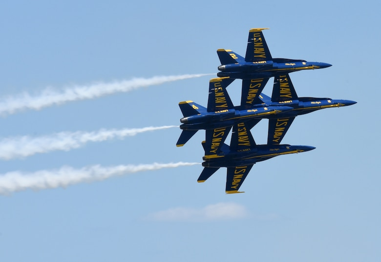 The Navy Blue Angels perform at the 2019 Star Spangled Salute Air and Space Show at Tinker Air Force Base. (U.S. Air Force photo/Kelly White)