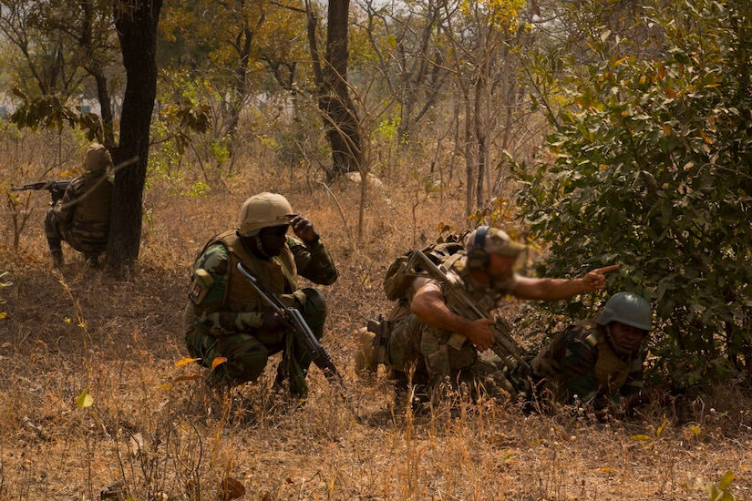 A soldier motions another soldier into position next to a shrub as others look out.
