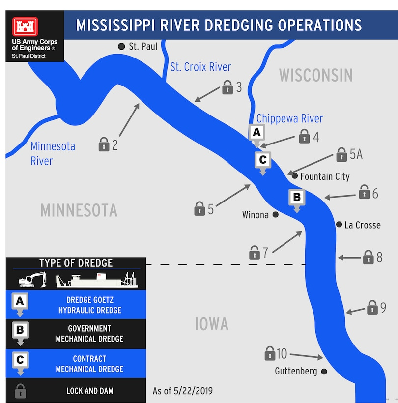 graphic showing location of dredging operations on the Mississippi River