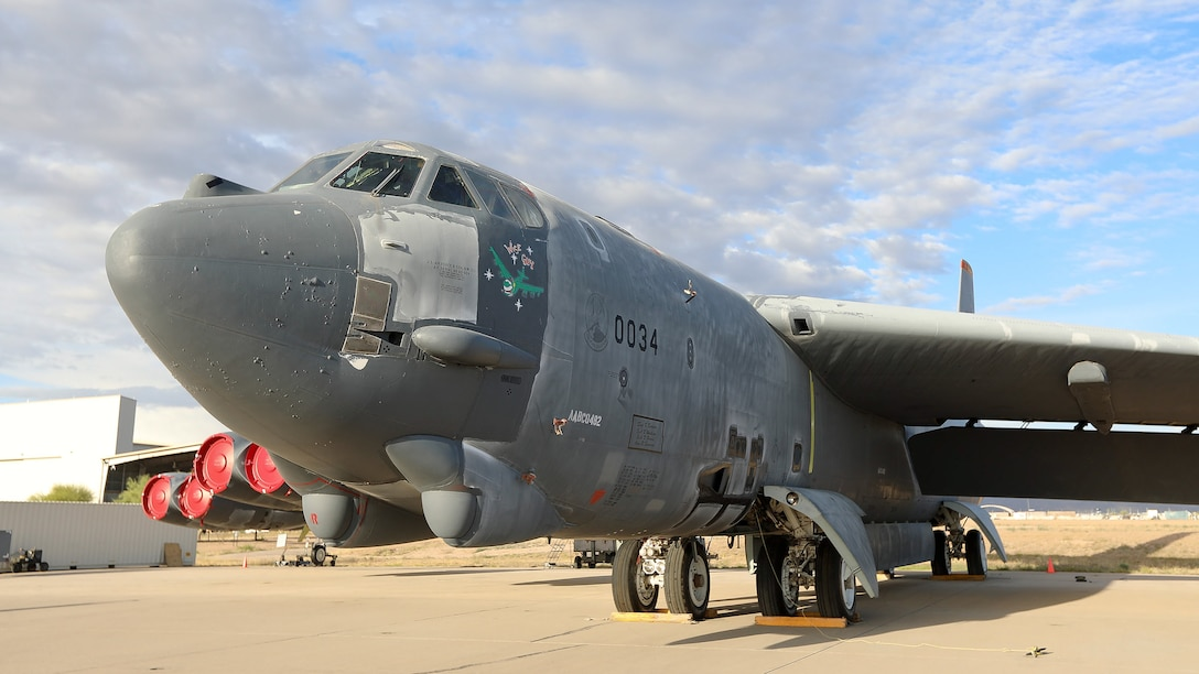 """A B-52H Stratofortress, nicknamed """"Wise Guy,"""" on the ramp at Davis-Monthan Air Force Base, Ariz., March 12, 2019. The B-52H completed phase one of its regeneration process at the 309th Aerospace Maintenance and Regeneration Group. It is being returned to service to replace a B-52 lost during takeoff in 2016. (U.S. Air Force photo by Teresa D. Pittman)"""