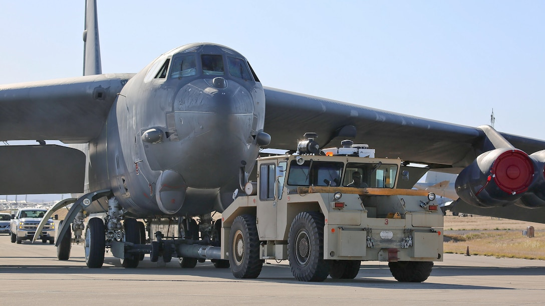 "A B-52H Stratofortress, nicknamed ""Wise Guy,"" being towed at Davis-Monthan Air Force Base, Ariz., April 11, 2019. The B-52H completed phase one of its regeneration process at the 309th Aerospace Maintenance and Regeneration Group. It is being returned to service to replace a B-52 lost during takeoff in 2016. (U.S. Air Force photo by Teresa D. Pittman)"