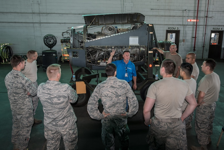 Roger Snow, a representative from Rolls-Royce North America, leads an engine familiarization class at Maintenance University in Savannah, Ga., May 20, 2019. The four-day intensive course was held at the Combat Readiness Training Center May 19 to 22.