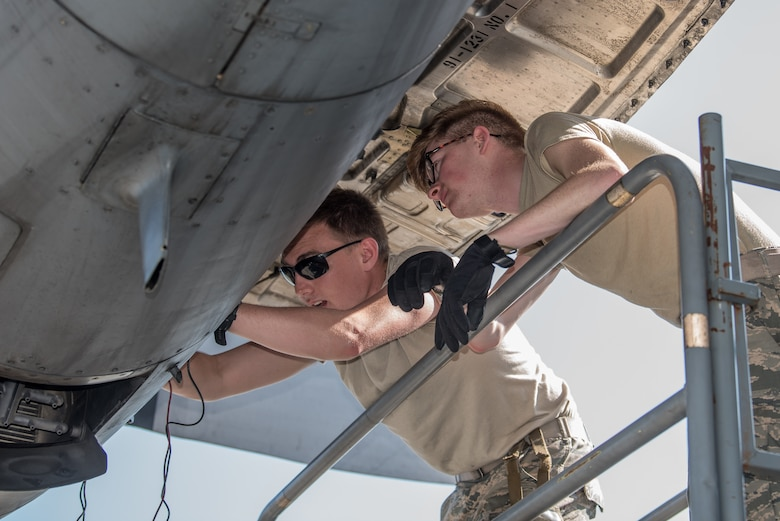 Students attending Maintenance University in Savannah, Ga., complete a C-130 Hercules maintenance check May 21, 2019. The Airmen participated in the four-day intensive course, held at the Combat Readiness Training Center, from May 19 to 22.