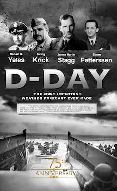 An Illustration commemorating the 75th anniversary of the D-Day invasion, depicting the meteorologists responsible for the invasion's weather planning. The weather forecast that led to June 6, 1944, being selected as the date to begin Operation Overlord is widely regarded as the most important weather forecast in history. (U.S. Air Force illustration by Josh Plueger)