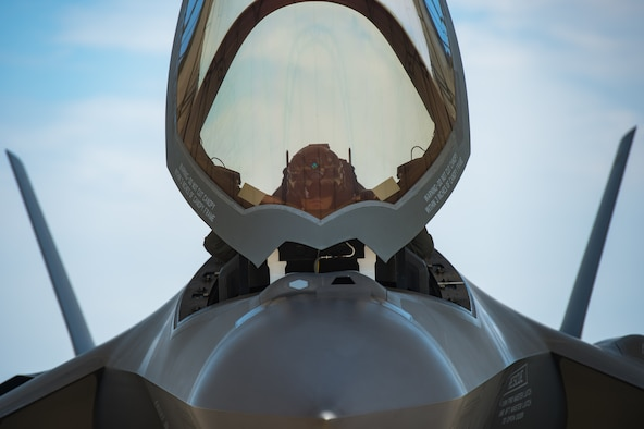 "U.S. Air Force Capt. Andrew ""Dojo"" Olson, F-35 Lightning II Demonstration Team pilot, prepares for takeoff at Joint Base Langley-Eustis, Virginia, June 6, 2019."
