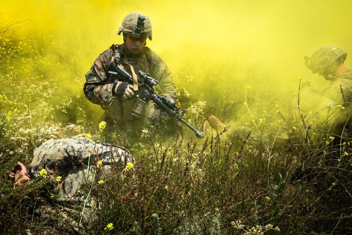 Marines with helmets and rifles walk through a cloud of yellow gas in a flowery field.
