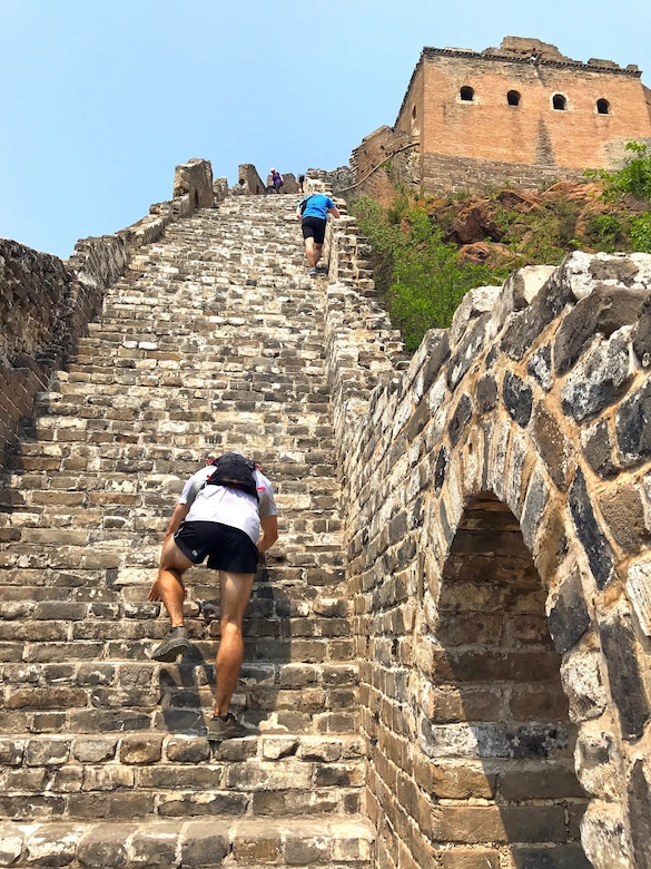 Bruce Robie, 225th Support Squadron National Airspace Defense program manager, runs the Conquer the Wall Marathon in Beijing, China, May 11, 2019.  Robie placed 10th overall, first in his age group of 50-59 and was the oldest competitor.  He completed the marathon in 9.5 hours. (Courtesy photo)