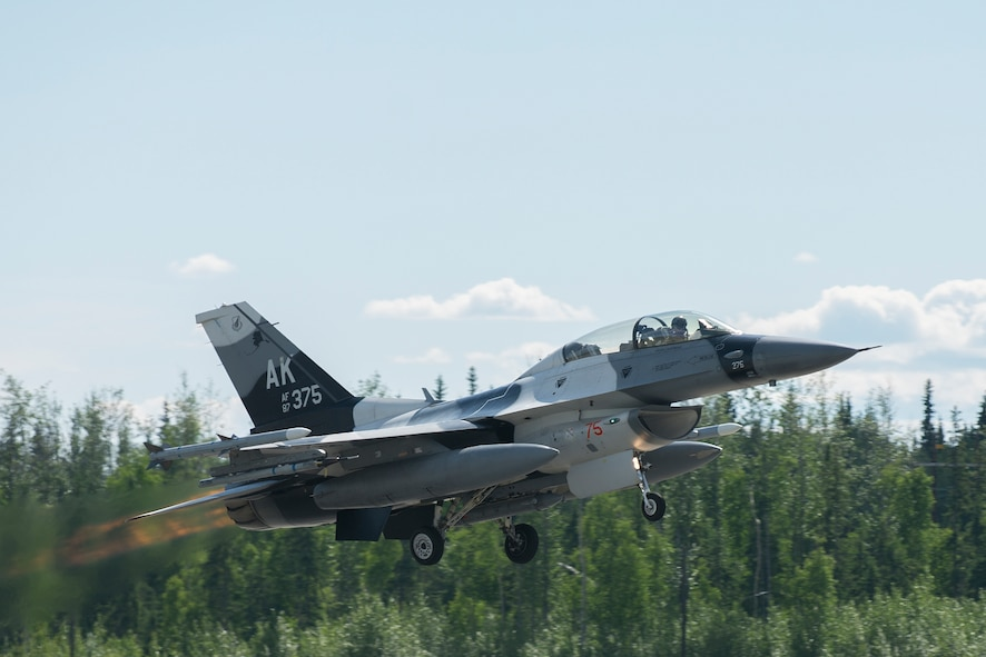 A U.S. Air Force F-16 Fighting Falcon assigned to the 19th Aggressor Squadron takes off in preparation for RED FLAG-Alaska (RF-A) 19-2 on Eielson Air Force Base, Alaska, June 4, 2019.