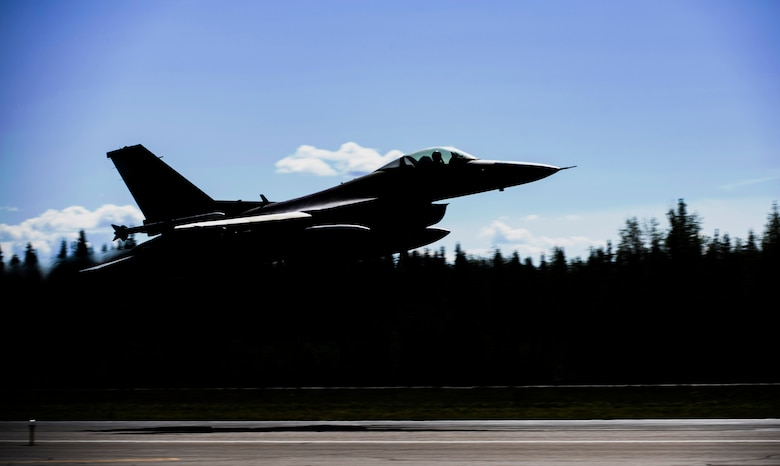 An F-16 Fighting Falcon from the 80th Fighter Squadron, Kunsan Air Base, Republic of Korea, takes off from Eielson Air Force Base, Alaska, June 5, 2019. The 80th FS was participating in Exercise Distant Frontier, a supplemental training event for units who arrived early for Exercise Red Flag-Alaska or stayed after Exercise Northern Edge. (U.S. Air Force photo  by Senior Airman Stefan Alvarez)