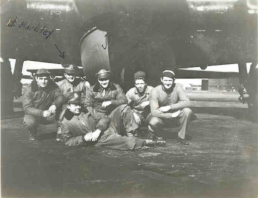 Group shot taken under a B-17.