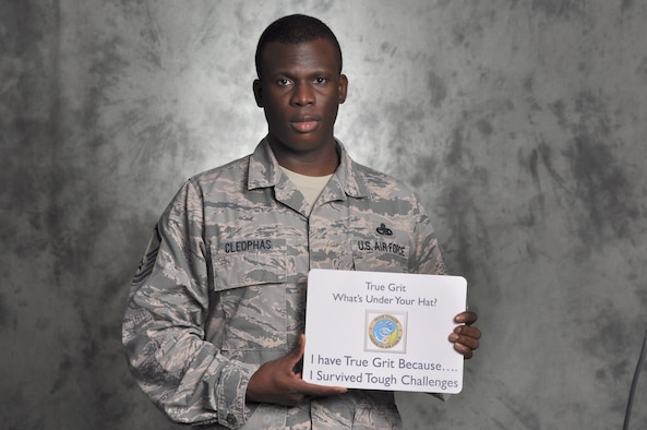 Master Sgt. Shawn Cleophas proves he has True Grit through persevering through the obstacles in life and also for choosing to seek help. Cleophas is a member of the 552nd Maintenance Group. (U.S. Air Force photo/Kelly White)