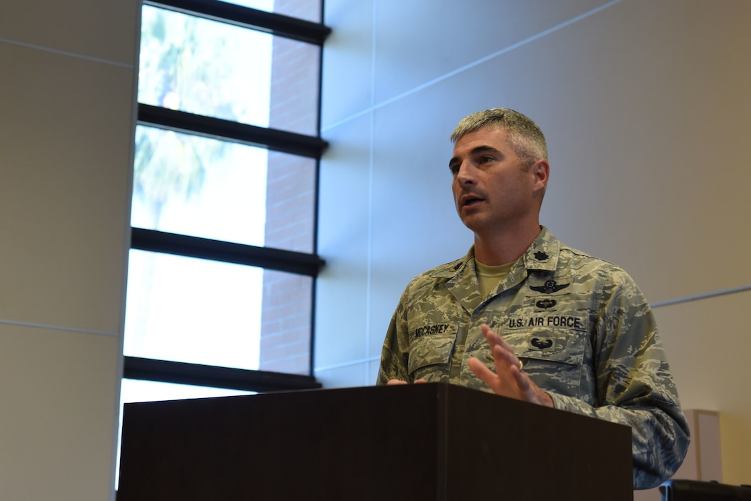 Lt. Col. Kevin K. McCaskey, 39th Operations Support Squadron commander, gives a speech during his change of command ceremony on June 6, 2019, on Incirlik Air Base, Turkey. McCaskey assumed command of the 39th OSS from Lt. Col. John A. Talafuse, and expressed his enthusiasm about leading the squadron. (U.S. Air Force photo by Senior Airman Joshua Magbanua)