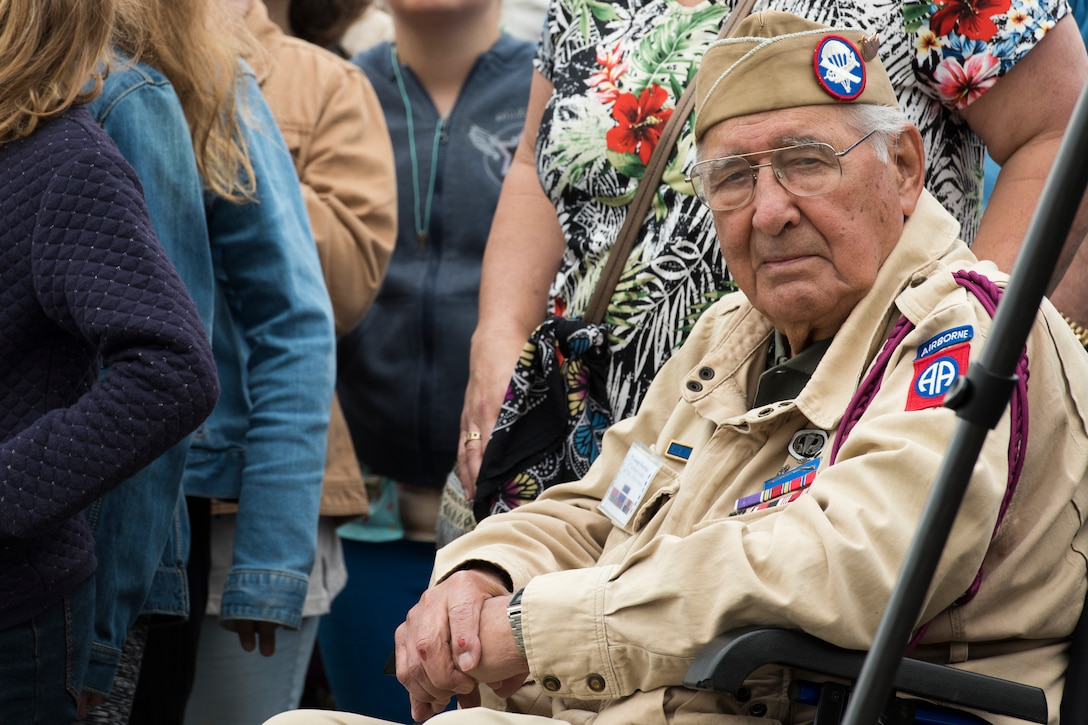 Retired Army Private First Class Joseph Morettini, 82nd Airborne, 508th Regiment, Easy Company, poses for a photo during a ceremony held in honor of all airborne troops