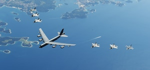 U.S. and Italian Air Forces aircraft fly in formation